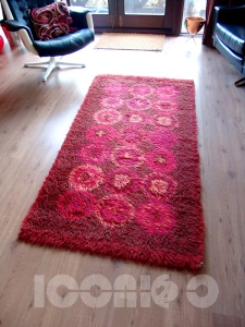 _70s red wool german rug