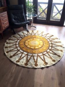 _70s round Wool rug danish rya