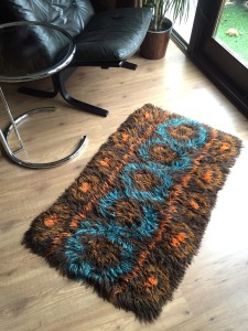 _70s wool small rug brown teal orange