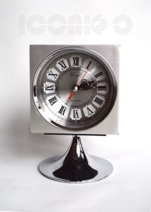 _coral square chrome rosewood silver effect pedestal alarm clock