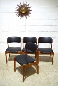 _erik buck 49 dining chairs teak black leatherette x4