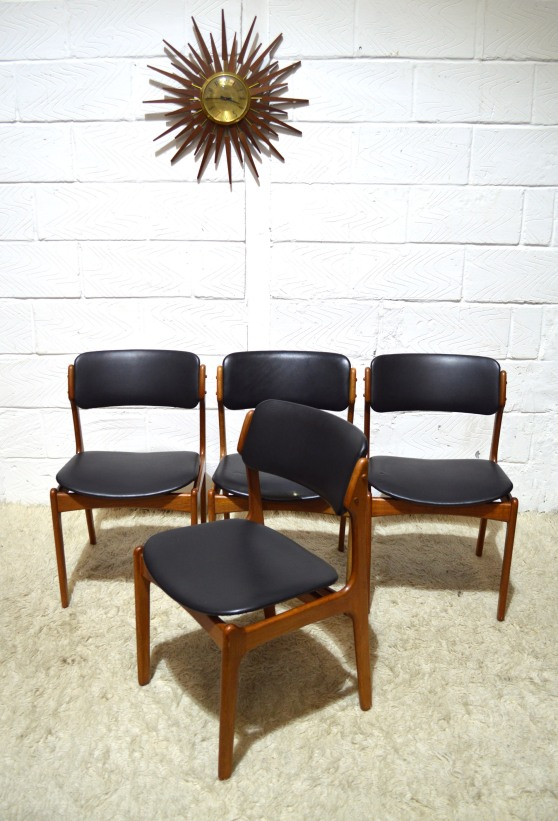 _erik buck 49 dining chairs teak black leatherette x4
