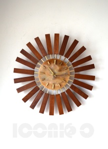 _manley teak sunburst wall clock