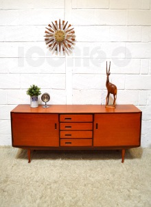 __Meredew rare sideboard recessed handles bowed front Ball Feet