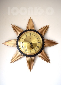 _metamec 50s gold face sunburst wall clock