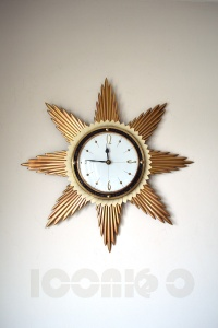 _metamec 50s white face sunburst wall clock