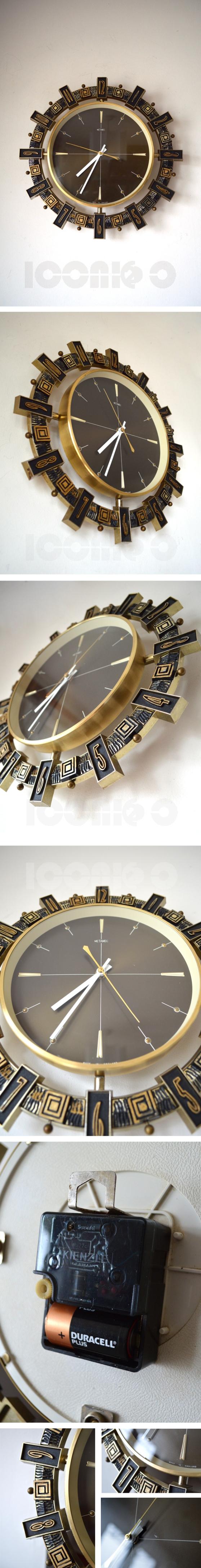 metamec-aztec-brown-face-wall-clock