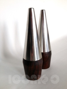 _60s modernist stainless steel rosewood cruet set
