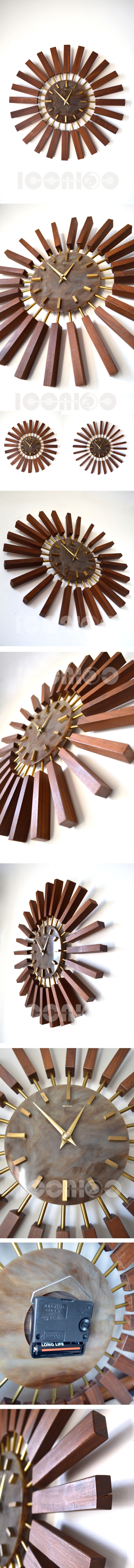 manley rosewood sunburst wall clock