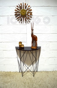 __art deco 40s black wire formica console table