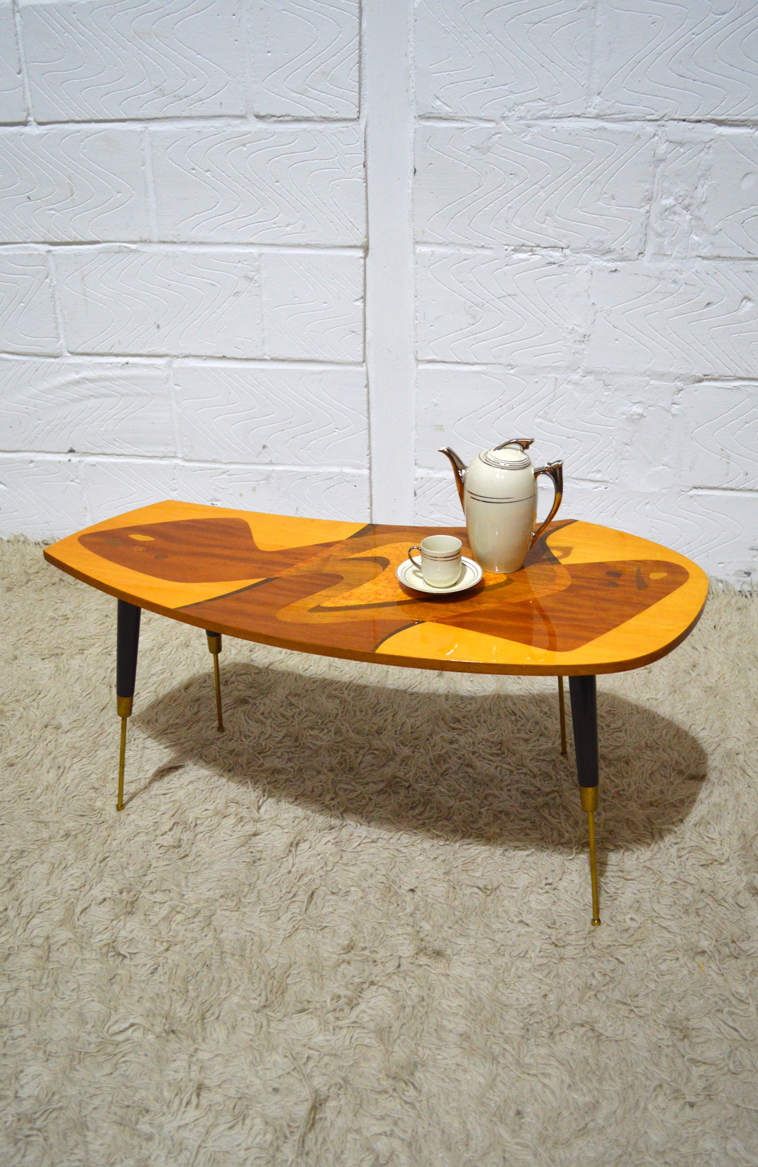 40S 50S AMAZING ART DECO INLAID VENEERED LACQUERED COFFEE TABLE