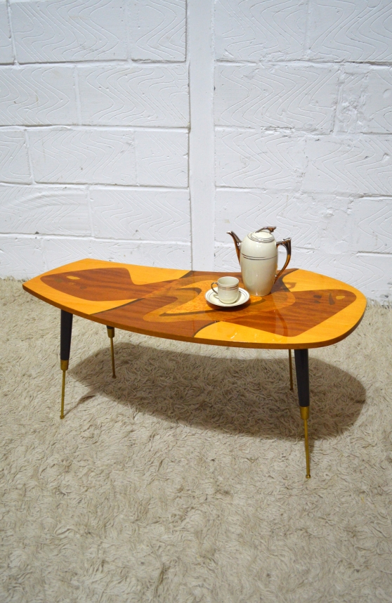_50s gio ponti style inlaid veneered lacquered coffee table