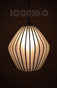 _50s black stripy lantern glass lampshade