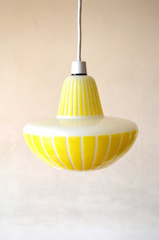 _50s UFO yellow stripy glass lampshade