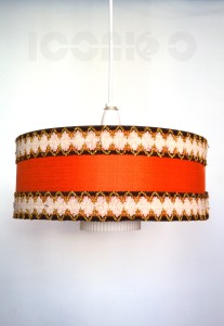 _60s tambour orange cream glass lampshade