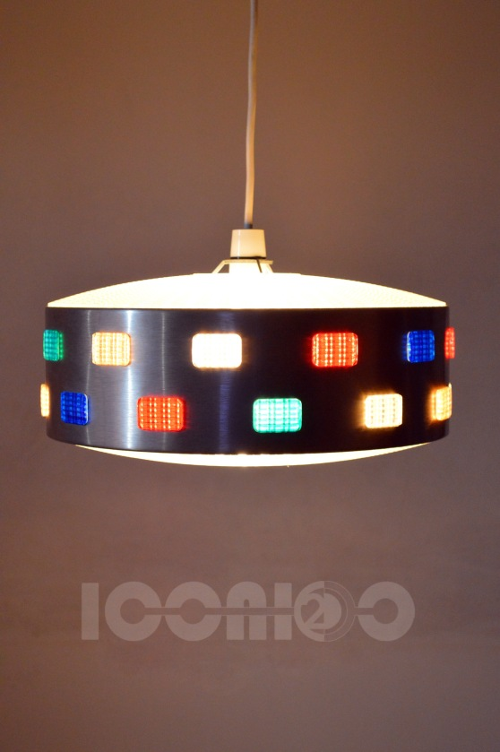 _70s funky multicoloured insets large lampshade