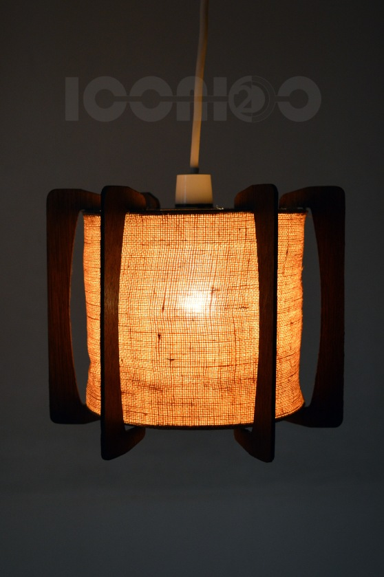 _70s hessian lampshade