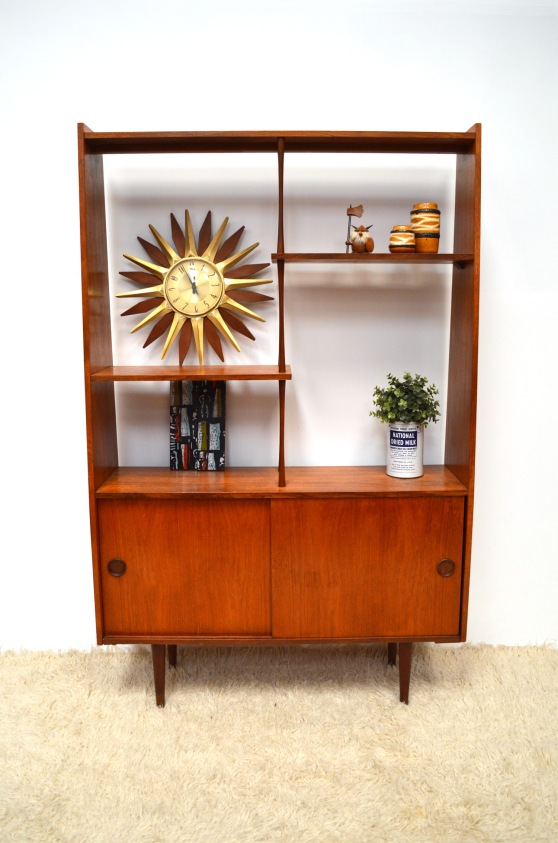 _danish style teak room divider display cabinet
