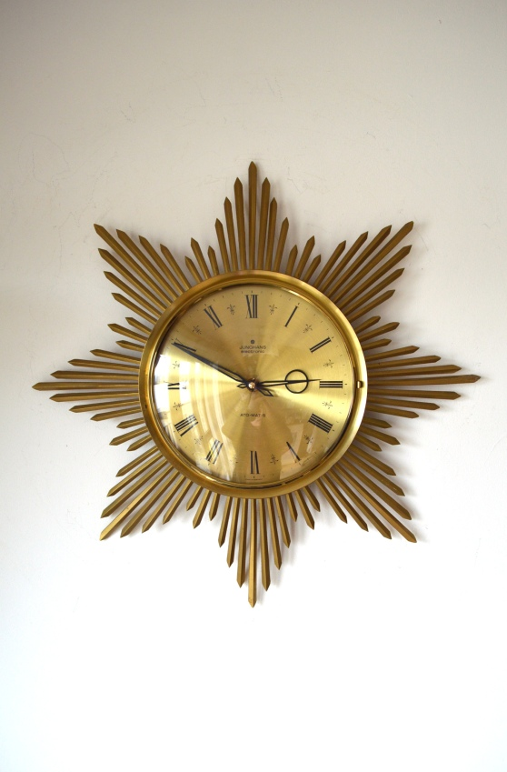 _junghans automat brass sunburst wall clock