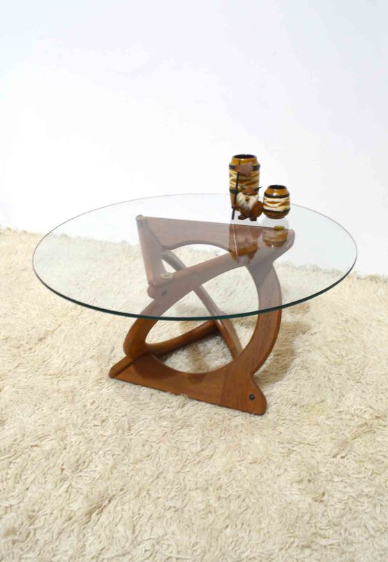 _kubus Soren Georg Jensen sculptural teak glass coffee table