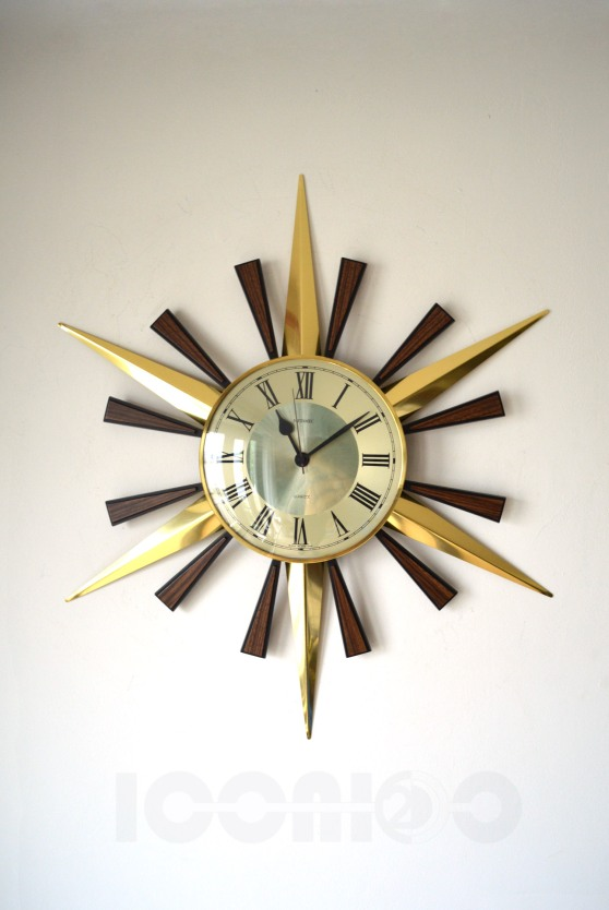 _metamec aluminium incomplete sunburst wall clock