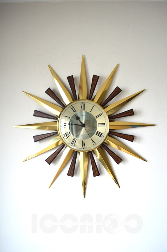 _metamec aluminium sunburst wall clock