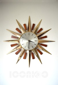 __metamec sunburst wall clock cracked ring 160510