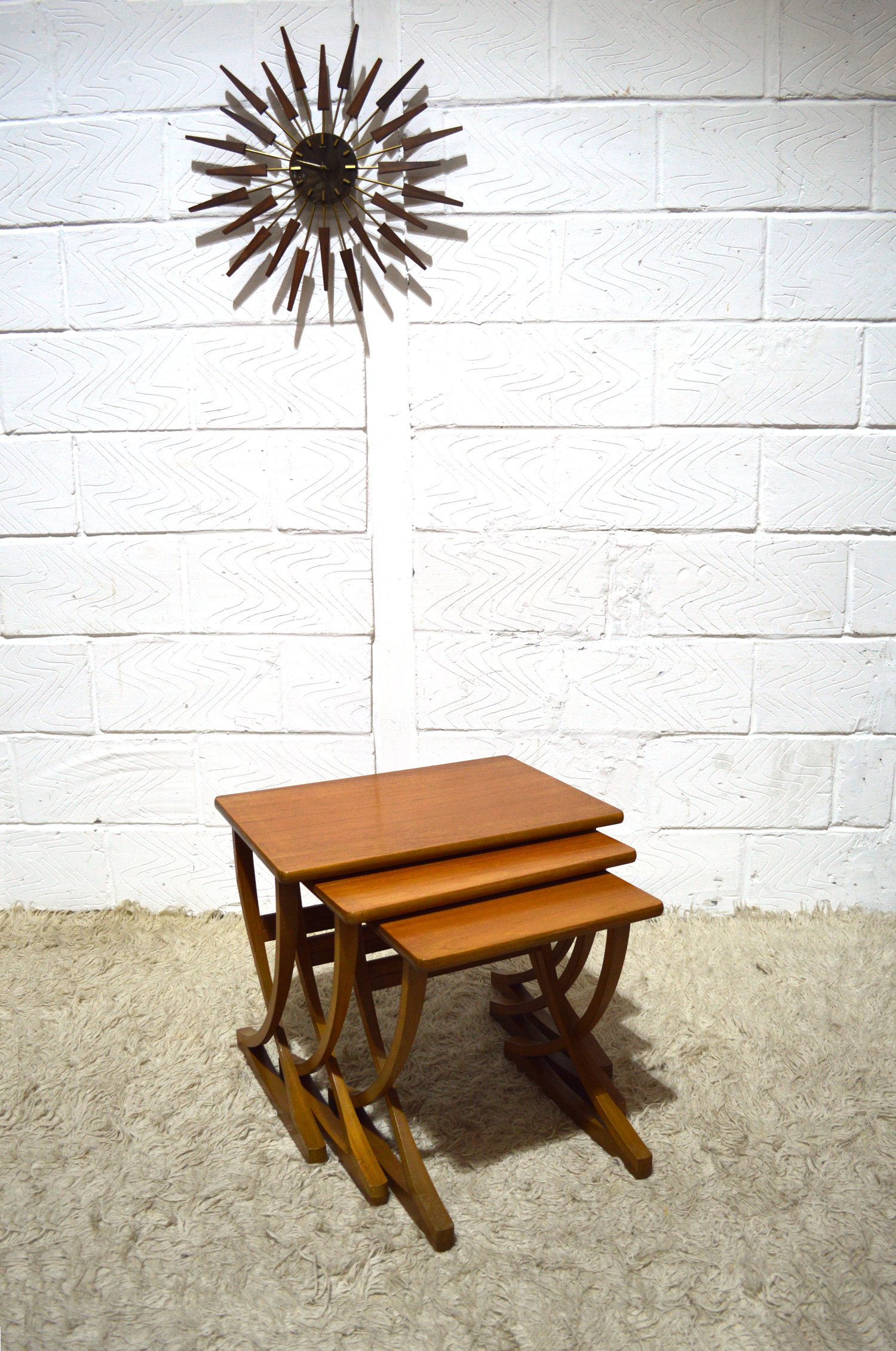 RARE AMAZING CROSS LEGS ART DECO STYLE NATHAN NEST OF TABLES 60S
