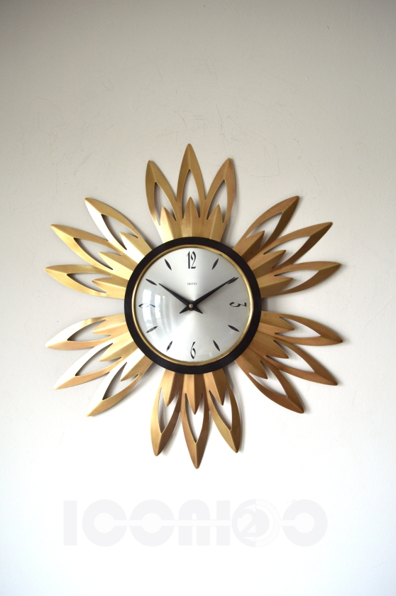 __smiths flower brass sunburst wall clock